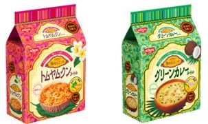 トムヤムクンとグリーンカレー初の袋麺で新発売