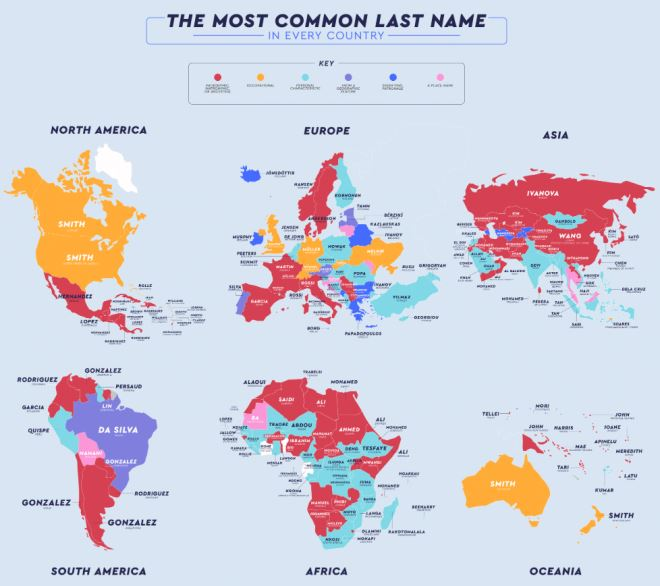 The most common last name in every country.